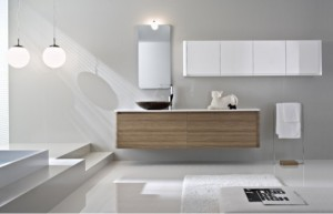 Modern bathroom with gray walls and custom floating vanity
